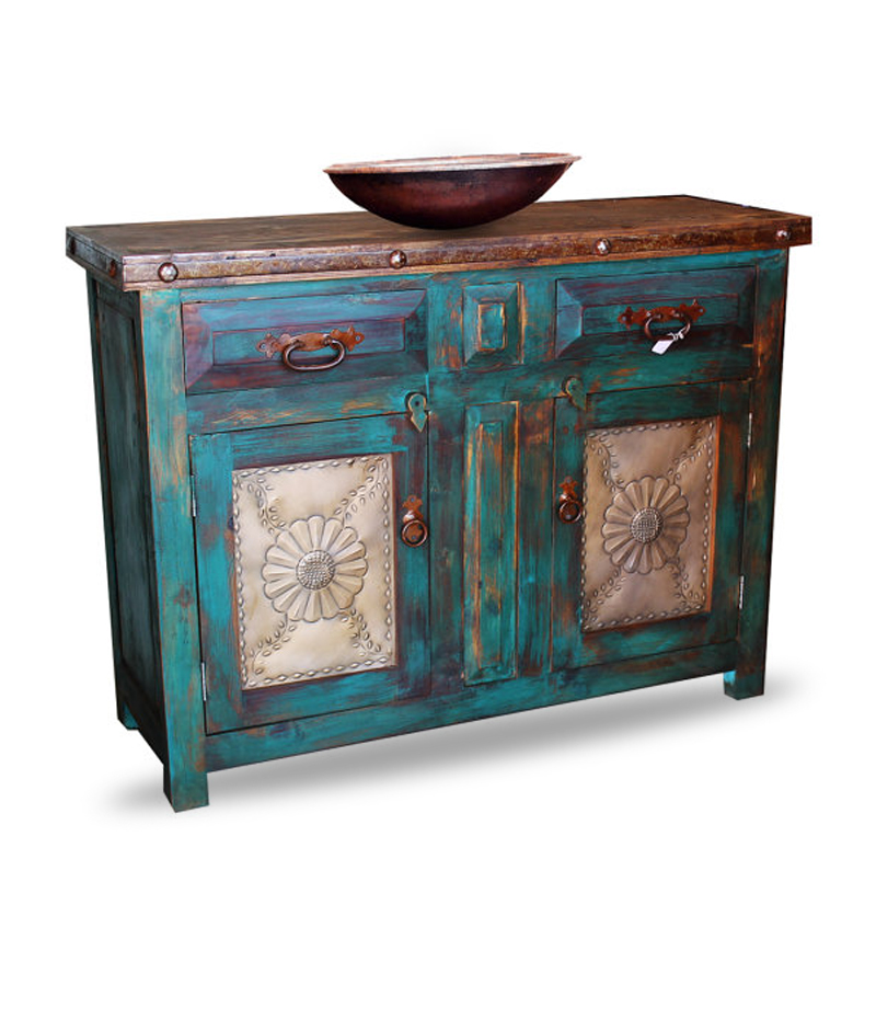Distressed turquoise vanity reclaimed wood furniture for Distressed furniture