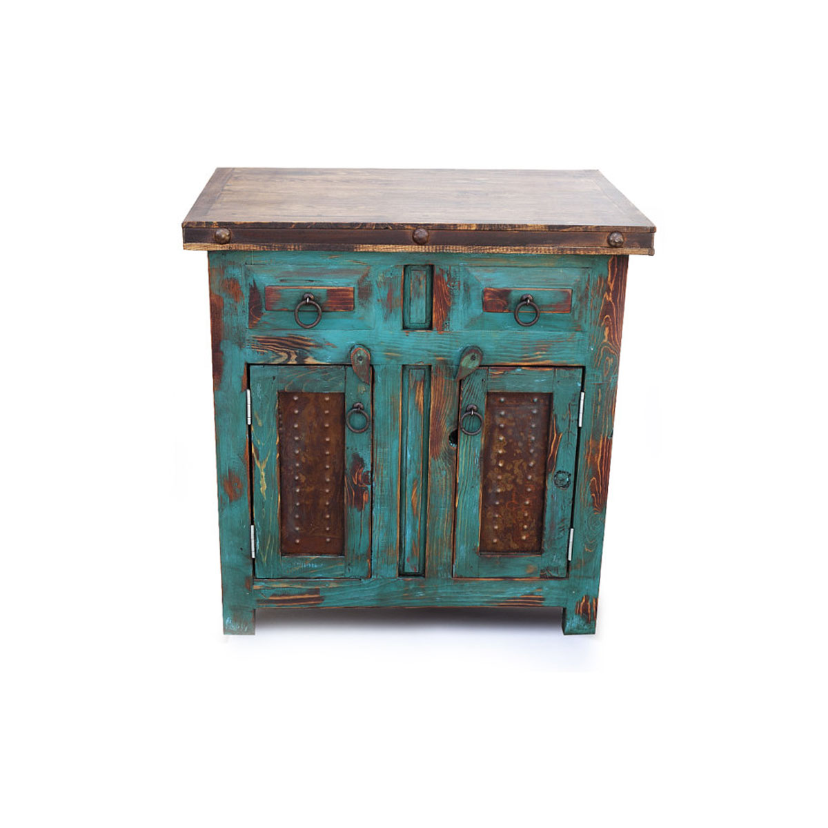 Order Distressed Vanity With Metal Panels And Crafted From