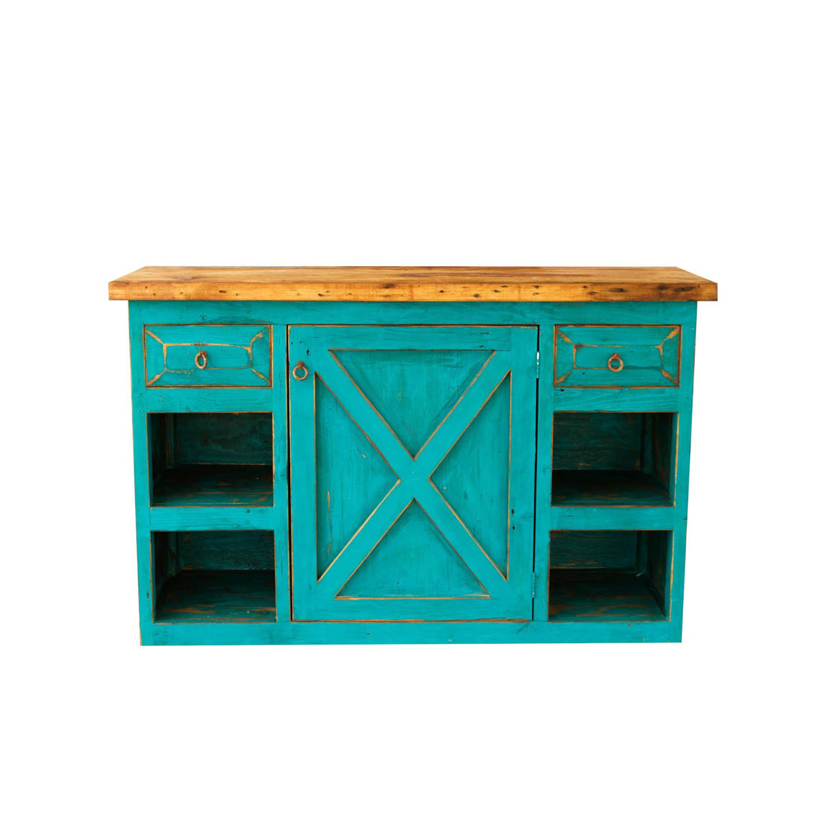 Buy Rustic Turquoise Farmhouse Vanity With 2 Drawers And 1 Door Online